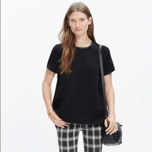 Madewell Leather Trim Tailored Tee Black Size S